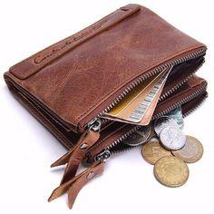 $19.89 Men Genuine Leather Zipper Short Wallet Folding Totes Card Holders Bags