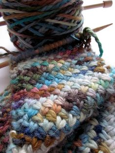 Wish it was a crochet stitch!  Interesting stitch. gorgeous misti alpaca yarn in 'havasu'.