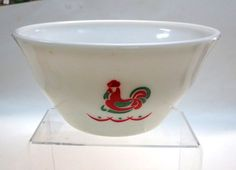 McKee Glass Rooster Mixing Bowl Red and Jadite Bell Shape 1930's~~