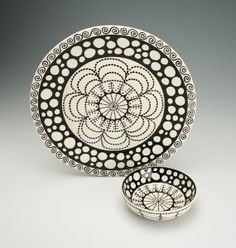 Platter and Bowl Black and White Hand Painted by owlcreekceramics, $75.00