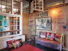 wohnzimmer wanddeko selber machen aus Leinwandsäcken als coole wandgestaltung