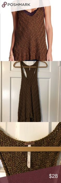 NWOT Free People green & brown sweater tunic NWOT, never worn. 🌼Thank you for looking!  🌼I ship within 2 days shipping excluding holidays 🌼I do not trade! 🌼I only accept offers through the offer button! 🌼Thank you for shopping and feel free to ask any questions! 🚭Smoke free home! Free People Tops Tank Tops