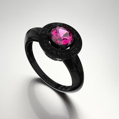 Decorum 14K Black Gold 1.0 Ct Pink Sapphire Black by DecorumRings