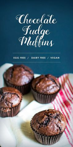 Do you need more reasons to start baking RIGHT now? How about dairy free, egg free, vegan chocolate fudge muffins? Dairy Free Chocolate Cake, Chocolate Muffins, Chocolate Recipes, Chocolate Fudge, Vegan Chocolate Cupcakes, Chocolate Truffles, Homemade Chocolate, Vegan Baking Recipes, Egg Free Recipes