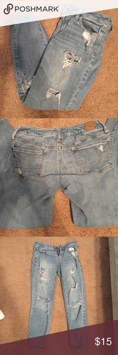 American Eagle Jeans American Eagle Jeans in great condition. They came all torn up but have been torn a little more just from wearing. They're SO cute and have the perfect destroyed look! American Eagle Outfitters Jeans Skinny