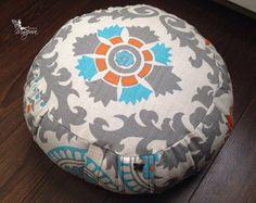 Meditation pillow cushion zafu cotton with handle and velcro closing - Turquoise Mandala -  Organic buckwheat hulls