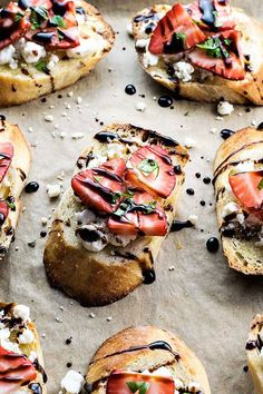 STRAWBERRY AND GOAT CHEESE BRUSCHETTA. 18 Fourth of July Appetizers for the Ultimate Summer Celebration  #purewow #recipe #summer #food #easy #4thofjuly #fourthofjuly #appetizers #apps #easyappetizers #summerhosting #hosting #entertaining #4thofjulyrecipes #bruschetta #smallbites #partyrecipes