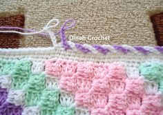 edging ch 6 skip 1 stitch sl st in next alternating colors Dinah Crochet: baby blanket.edging ch 6 skip 1 stitch sl st in next alternating colors Stitch Crochet, C2c Crochet, Love Crochet, Crochet Crafts, Crochet Projects, Easy Crochet, Crochet Edgings, Crochet Stitches, Crotchet