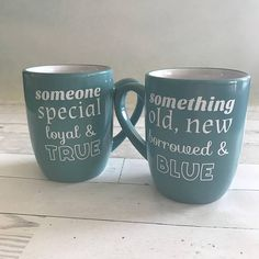 A special pair of blue coffee mugs with white vinyl poems. One features the traditional bridal poem, and one features a new rhyme to make a sweet, romantic matching set. The poems read something old, new borrowed & blue and someone special loyal & true. The outline lets the beautiful blue color show through to reference both the literal blue in something blue and the idea of a true blue partner. Makes a great gift for a newly engaged or newlywed couple or as the something blue at a we...