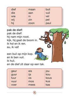 Veilig leren lezen - veilig & vlot zon kern 1 selectie Learn Dutch, Writing Practice, Preschool Worksheets, Kids Education, Spelling, Activities For Kids, Homeschool, Language, Lettering