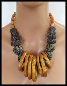 MALI SUNSET Handmade African Clay Beads Nigerian Bone