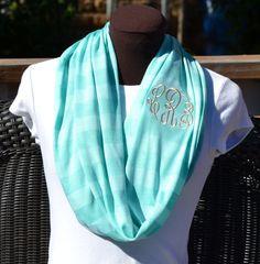 Monogrammed Infinity Scarf Mint Stripe Knit Jersey by byrdlegs, $25.00