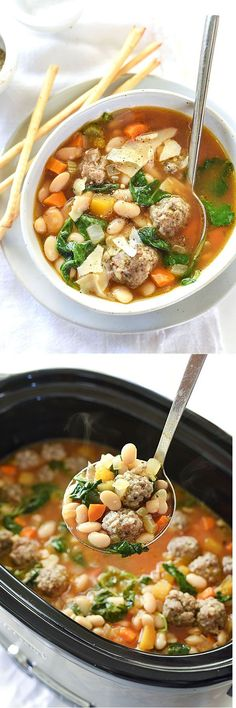 Five Approaches To Economize Transforming Your Kitchen Area Slow Cooker Tuscan White Bean And Sausage Soup - There's No Browning Needed Before Making This Crockpot Favorite And The Meatballs Make It Even Better. Crock Pot Soup, Crock Pot Slow Cooker, Crock Pot Cooking, Slow Cooker Recipes, Crockpot Recipes, Soup Recipes, Dinner Recipes, Cooking Recipes, Healthy Recipes