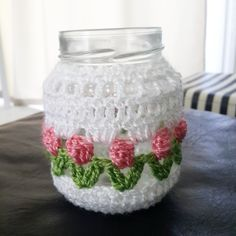 Crochet Diy, Crochet Home, Filet Crochet, Crochet Gifts, Crochet Ideas, Crochet Bunny Pattern, Crochet Patterns, Crochet Jar Covers, Beginner Crochet Projects