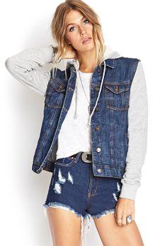 Junior Women's Thread & Supply Hooded Denim Jacket with Fleece ...