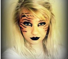 Tiger Makeup, Kyle wants to do Calvin and Hobbs for Halloween Tiger Halloween, Halloween Kostüm, Halloween Cosplay, Halloween Costumes, Halloween Face Makeup, Cat Costumes, Pet Tiger, Tiger Face, Tiger Costume