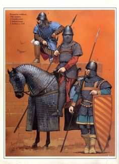 Byzantine soldiers, 14th century: 1. Cavalryman, 2. Infantryman, 3. Archer. c. 1326. Artwork by Angus McBride