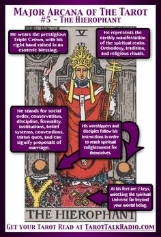 Divination:  Major Arcana of The #Tarot:  #5 ~ The Hierophant.