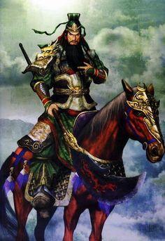 Anime Male Samurai Guan Yu / Dynasty Warriors , The blue dragon riding his red hair horse . Guan Yu, Sun Tzu, Red Hair Horse, Conan Rpg, Kung Fu, Dynasty Warriors 5, Sengoku Musou, Character Art, Character Design
