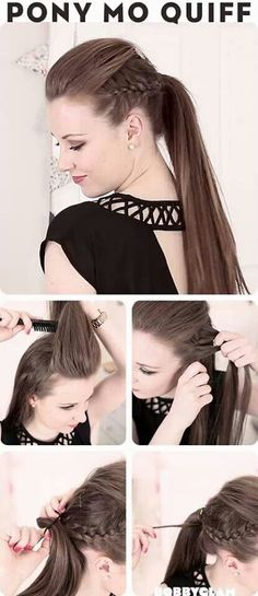 15 Different Ways to Make Cute Ponytails Mohawk Ponytail Quiff Mohawk Ponytail, Ponytail Hairstyles, Pretty Hairstyles, Mowhawk Braid, Puff Hairstyle, Stylish Ponytail, Braided Mohawk, Hairstyle Ideas, Braided Pony