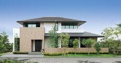 印象深い趣ある家|一戸建て木造注文住宅の住友林業(ハウスメーカー) Japan Modern House, Modern Tropical House, Modern House Plans, House Roof, Facade House, Villa, Building Design, Building A House, Japanese Style House