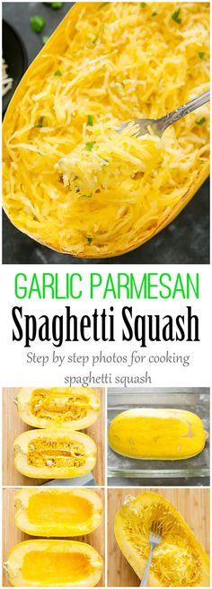 Garlic Parmesan Spaghetti Squash. An easy, low-carb meal.