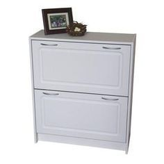 4D Concepts 24-Pair White Composite Shoe Cabinet