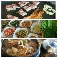 #晩ご飯#韓国料理#ブルゴギ#サムギョプサル#キムチ#野菜 #samgyupsal and #bulgogi for #dinner #korean#bbq#kimchi#vegetable#yummy#food#philippines