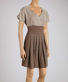 Another great find on #zulily! Brown & Gray V-Neck Dress by Covet #zulilyfinds