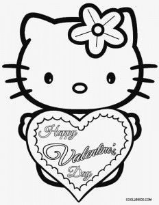 cat valentine coloring pages for kids | Coloring Pages Hello Kitty Valentines | Valentines Day ...