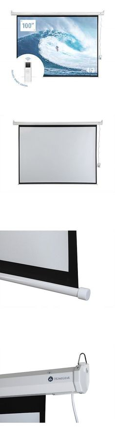 """Projection Screens and Material: Homegear 100"""" 4:3 Hd Electric Motorized Projector Screen + Remote -> BUY IT NOW ONLY: $66.99 on eBay!"""