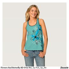 Flowers And Butterfly All-Over Print Tank Top