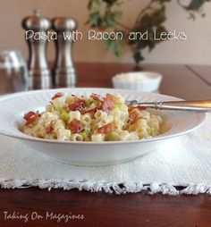 Pasta in a creamy sauce with bacon and  leeks.