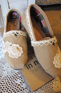 Embellished Toms Shoes by beckysbeadedcreation on Etsy, $89.99
