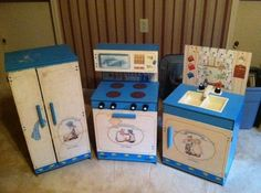 """VINTAGE HOLLY HOBBIE KITCHEN SET SINK STOVE REFRIGERATOR- I had the same set when I was a child. A friend posted something Hollie Hobbie & I just had to go & see if any of these kitchens are still floating around. """"Vintage"""" = I am old"""