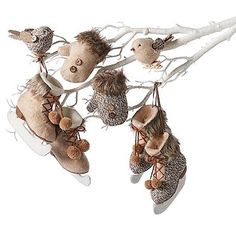 6-piece Cream and Tweed Christmas Ornament Set
