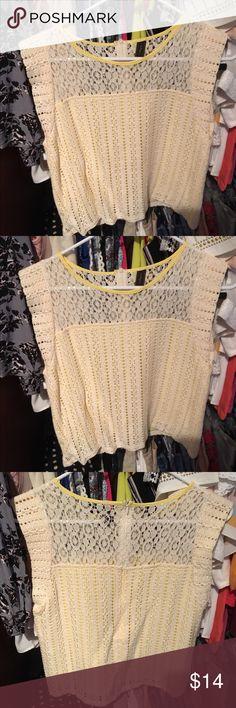 Beige lace top with yellow inlay-Valija Gitana Beige lace top with cap sleeves, yellow inlay, zipper on the top half on the back. Valija Gitana brand. Valija Gitana Tops Blouses
