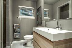 Bathroom design ideas - colors and patterns - Home Decoration Loft Bathroom, Bathroom Renos, Grey Bathrooms, Washroom, Bathroom Cabinets, Bathroom Ideas, Small Bathroom Inspiration, Modern Sink, Downstairs Toilet
