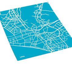Lima city map art print