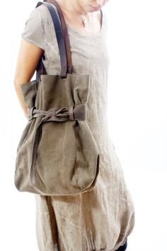 Canvas Tote large canvas bag shoulder bag hobo bag by RuthKraus