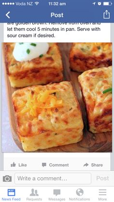 Leftover Mashed Potato Puffs_ Ingredients: 2 eggs cup sour cream, plus more for serving 1 heaping cup shredded sharp cheddar cheese 2 tablespoons grated Parmesan 2 tablespoons chopped chives salt and black pepper, to taste 3 cups mashed potatoes Potato Dishes, Vegetable Dishes, Vegetable Recipes, Food Dishes, Side Dishes, Main Dishes, Potato Bar, Potato Snacks, Pampered Chef Recipes
