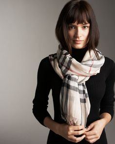 Burberry Large Check Gauze Scarf - Neiman Marcus