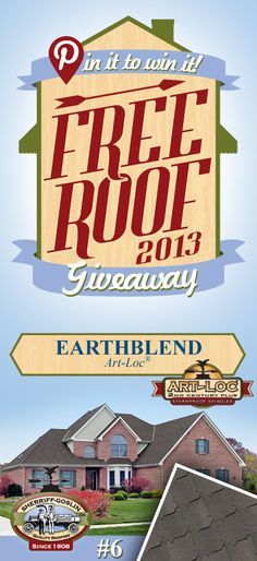 Re-pin this gorgeous Art-Loc Earthblend Shingle for your chance to win in the Sherriff-Goslin Pin It To Win It FREE ROOF Giveaway. Available in Sherriff-Goslin service area only. Re-pin weekly for more chances to win! | Stay Updated! Click the following link to receive contest updates. http://www.sherriffgoslin.com/repin Learn More about this shingle here: http://www.sherriffgoslin.com/tabbed.php?section_url=140