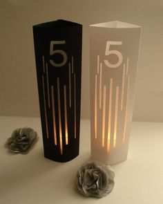 L i n e s Table Number Markers / Luminaries / Wedding Table Numbers. $2.00, via Etsy.