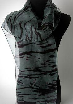 Gray Stripe Scarf Arashi Shibori Extra Long Hand by OhSuzanni