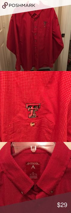 TEXAS TECH RED RAIDERS. GUNS UP. SIZE XL Red mini-check long sleeve shirt. Button down. Front pocket.  Mint condition.              NON-SMOKING HOME Antigua Shirts Casual Button Down Shirts