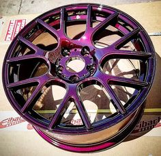 Prismatic Powders - Powder Coated Malbec Custom Rim - - This project was coated in Illusion Malbec and Clear Vision. The powder coating creative outlet. Prismatic Powders offers the world's largest selection of custom powder coat colors. Carros Turbo, Pink Rims, Rims For Cars, Rims For Trucks, Pink Truck, Girly Car, Car Mods, Truck Wheels, Custom Wheels