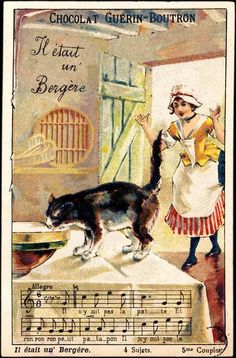 Vintage advertising card - musical with cat