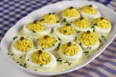 Switch up a party staple with offerings of Basil Deviled Eggs. Egg Recipes, Appetizer Recipes, Cooking Recipes, Vegetarian Appetizers, Savory Snacks, Lunch Recipes, Recipies, Basic Deviled Eggs Recipe, 100 Calorie Snacks