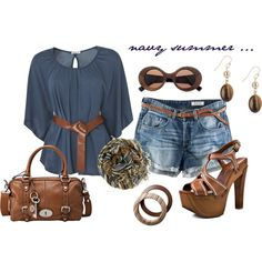 navy summer ..., created by daizeydee33 on Polyvore.  I think my mom has this purse...